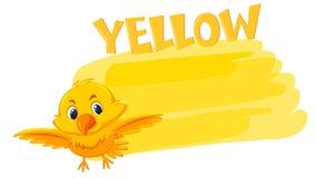 Een gele vogel en het schilderen kleur vector illustratie