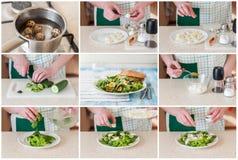 Een Geleidelijke Collage van het Maken van de Salade van het Kwartelsei Stock Foto's