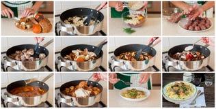 Een Geleidelijke Collage van het Maken van Deegwaren met Vleesballetjes en Mushr Stock Fotografie