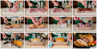 Een Geleidelijke Collage van het Maken van Gevuld Varkensvleeslendestuk Royalty-vrije Stock Foto