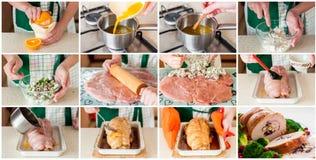 Een Geleidelijke Collage van het Maken van het Gevulde Broodje van Turkije Royalty-vrije Stock Afbeelding