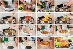 Een Geleidelijke Collage van het Maken van Kip en Courgettetortilla P Stock Afbeelding