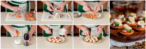 Een Geleidelijke Collage van het Maken van Kleine Taartjes van Zalm Royalty-vrije Stock Foto's