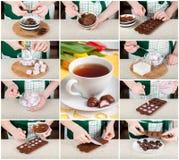 Een Geleidelijke Collage van het Maken van Paasei Gevormd Suikergoed Stock Afbeelding