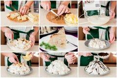 Een Geleidelijke Collage van het Maken van Pancho Cake Stock Foto