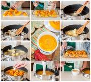 Een Geleidelijke Collage van het Maken van Pompoensoep Stock Foto's