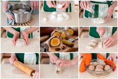 Een Geleidelijke Collage van het Maken van Roggedeeg Verpakte Eieren Royalty-vrije Stock Foto's