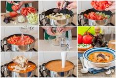 Een Geleidelijke Collage van het Maken van Toscaanse Broodsoep Royalty-vrije Stock Afbeelding