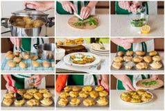 Een Geleidelijke Collage van het Maken van tot Neerstorting Hete Aardappels Stock Afbeeldingen