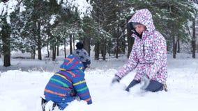Een gelukkig glimlachend kind en zijn mamma spelen het werpen op sneeuw in openlucht in een park of een bos in de winter Het kamp stock videobeelden