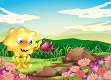 Een gelukkig monster die de installaties water geven bij de heuveltop met bloemen Stock Afbeeldingen