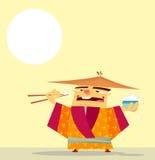 Gelukkige Chinees die rijst eten Stock Afbeelding