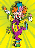 Gelukkige clown op een clolorfoulachtergrond Stock Foto