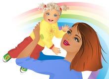 Een gelukkige jonge moeder met een baby vector illustratie