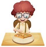 Een gelukkige jongen die pizza eet stock illustratie