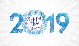 2019 een Gelukkige Nieuwjaargelukwensen vector illustratie