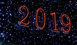 2019 een Gelukkige Nieuwjaargroeten stock afbeeldingen