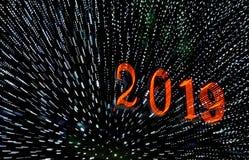 2019 een Gelukkige Nieuwjaargroeten stock foto's