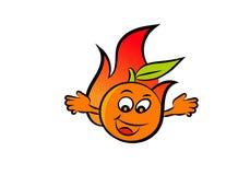 Een gelukkige oranje brandbal die zijn handen golven vector illustratie