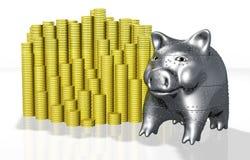 Een gepantserd piggy varken beschermt zijn geld Stock Afbeeldingen