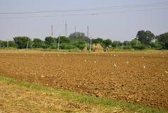 Een geploegd gebied klaar om de zaden te zaaien royalty-vrije stock afbeeldingen