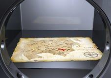 Een schatkaart in een brandkast Stock Afbeeldingen