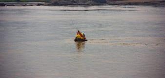 Een Geruïneerde Pagode in het midden van de Mekong Rivier Stock Fotografie