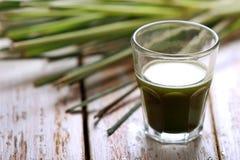 Een geschoten glas van wheatgrass stock afbeeldingen