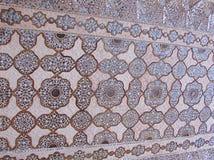 Een Gesierd Plafond in Spiegelpaleis, Amer Palace, Jaipur, Rajasthan, India stock foto