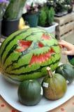 Een gesneden Halloween-watermeloenjack o lantaarn stock foto's