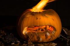 Een gesneden pompoen ziet eruit om met brand vomitting die van I losbarsten Royalty-vrije Stock Foto's