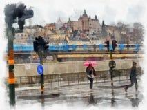 Een gestileerd beeld van de regenachtige straat van oud Stockholm Gamla Stan Stock Afbeeldingen