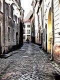 Een gestileerd beeld van de smalle straat van oud Tallinn Stock Foto's
