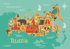 Een gestileerde kaart van Rusland met de symbolen van cultuur en aard vector illustratie