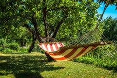 Een gestreepte hangmat tussen twee bomen in een zonnige groene tuin royalty-vrije stock fotografie