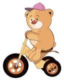 Een gevuld stuk speelgoed draagt welp en een beeldverhaal met drie wielen van kinderen Stock Foto's