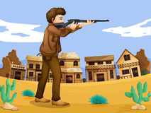 Een gewapende man in de buurt Stock Foto