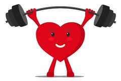 Een gezond hart fokt de bar met gewichten royalty-vrije illustratie