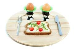 Een gezonde sandwich en twee eieren Royalty-vrije Stock Afbeeldingen