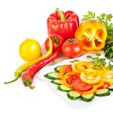 Een gezonde voedsel plantaardige salade Royalty-vrije Stock Fotografie