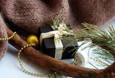 Een giftdoos met een beige lint bevindt zich keurig dichtbij de takken van de Kerstboom royalty-vrije stock fotografie