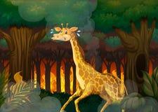 Een giraf die vanaf wildfire bos lopen stock illustratie