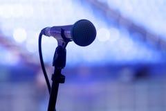 Een gitarist met microfoon op het stadium Stock Afbeeldingen