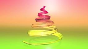 Een glanzend feestelijk lint vormt een Kerstboomsymbool dat roteert 3d geef van Kerstmis heldere samenstelling terug naadloos stock videobeelden