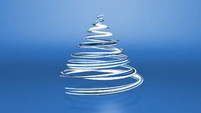 Een glanzend feestelijk lint vormt een Kerstboomsymbool dat roteert 3d geef van Kerstmis heldere sappige samenstelling terug stock video