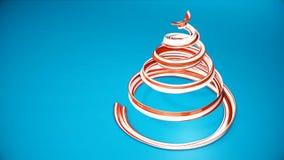 Een glanzend feestelijk lint vormt een Kerstboomsymbool dat roteert 3d geef van Kerstmis heldere sappige samenstelling terug stock videobeelden