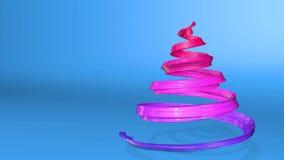 Een glanzend feestelijk lint vormt een Kerstboomsymbool dat roteert 3d geef van Kerstmis heldere sappige samenstelling terug stock footage