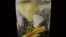 In een glas met van de sodaijs en citroen daling het stro Langzame Motie stock videobeelden