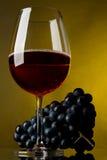 Een glas rode wijn en druiven Royalty-vrije Stock Foto's
