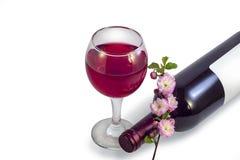 Een glas rode wijn, een fles wijn en een twijg van roze bloem royalty-vrije stock afbeelding